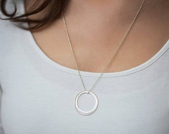 Long necklace 2 round Sterling Silver 925