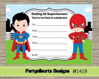 Diy soccer boys jointsibling birthday invitations diy fill in yourself superman and spiderman superhero instant download invitations solutioingenieria Gallery