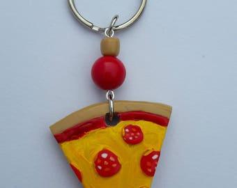 Pepperoni Pizza Slice Keyring/chain