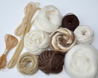 BACK IN STOCK! Pack of yarns and fibers size L - for weaving or other projects