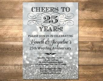 Silver Wedding Anniversary Invitation, Silver Bokeh 25th Anniversary Invitation, Silver Glitter Anniversary Invite, DIGITAL OR PRINTED