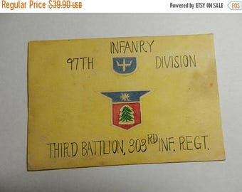 Easter Sale Original WW2 US 97th Infantry Division 303rd Infantry Regt Hand Painted Christmas Post Card Japan