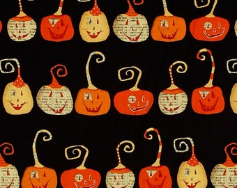 Witchy Black Pumpkins fabric for Halloween by Studio E #3702-99 yardage and fat quarters