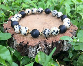 Dalmatian Jasper + Matte Black Onyx Agate(8mm) Bracelet