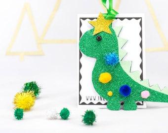 Dinosaur Christmas decoration, decoration, christmas decoration, glitter decoration, pom pom, tree decoration, bauble, Christmas decoration