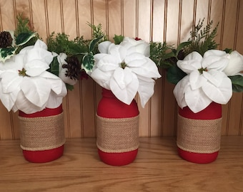 Christmas mason jar centerpiece, farmhouse decor