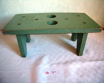 wooden stool green, Garden stool, small bench, plant stool, primitive, rustic