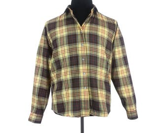 Yellow Plaid Men's Shirt - Size Medium / wool cotton blend long sleeves button up front vintage 70s mens clothing shirts retro patterned top