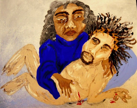 "Framed Acrylic Painting 16 x 20"" Canvas Panel ""PIETA"" - Religious Art - Outsider Folk Artist Stacey Torres"