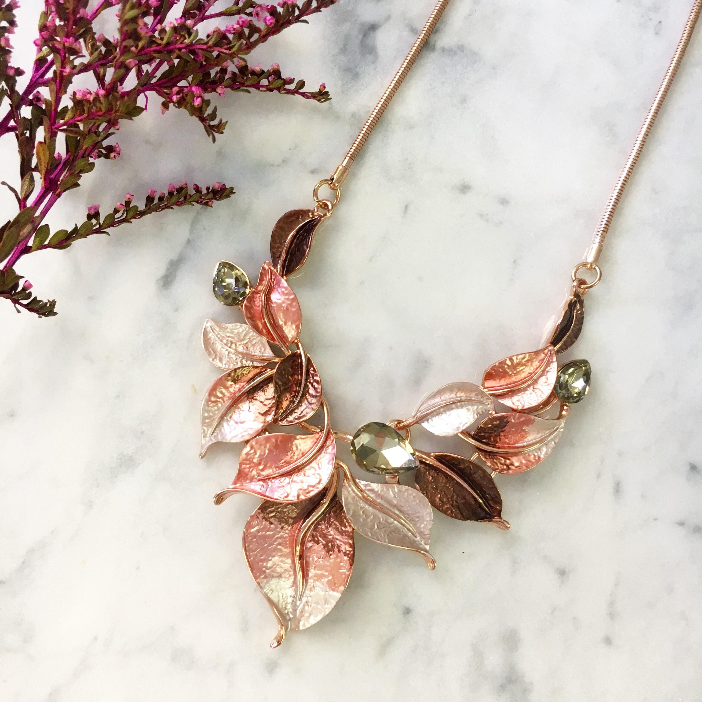Rose Gold Statement Necklace, Rose Pink Leaf Necklace, Rose Pink Bib ...