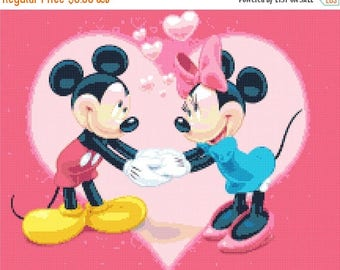 "mickey and minnie married Counted Cross Stitch mickey and minnie Pattern kreuzstichvorlagen korss - 15.43"" x 12.29"" - L439"