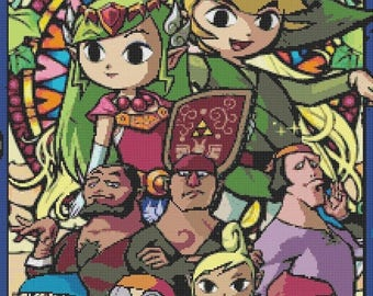 "nintendo zelda stained glass Counted Cross Stitch Pattern ponto cruz Kräiz Stitch needlepoint - 15.71"" x 23.64"" - L1159"