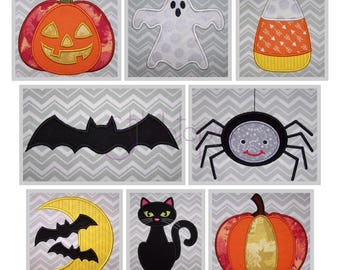 Halloween Applique Design Set - 8 Designs 10 Formats - Halloween Machine Applique Pumpkin Ghost Candy Corn Bat Spider Cat - Instant Download