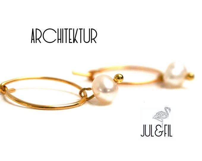 Gold plated Stud Earrings 18K, Freshwater Pearl ethical juletfilarchitektur ©