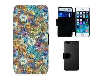 Floral Wallet phone case iPhone 6S, 6, X 8, 7 Plus, SE, 5S, 5C, 5, 4S, Samsung Galaxy wallet S8 S7 S6 Edge Plus, S4, S5 Mini, Note 5. F375
