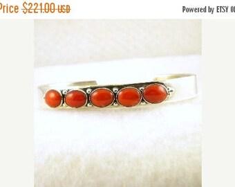 "Vintage Navajo Sterling Silver Coral Row Bracelet By Betty Tom 6"""