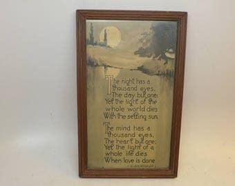 The Night Has a Thousand Eyes Poem -   Francis William Bourdillon Poet - Framed Poem