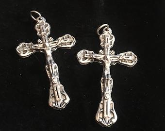 Lot of 3 Jesus crucifix Oxidized Silver Cross Bracelet Christian or Catholic Jewelry