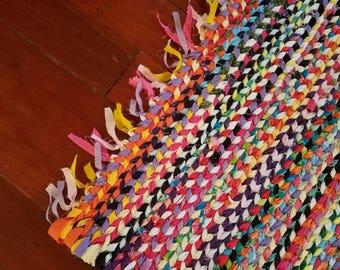 Hand Braided Rag Rug, Recycled Rag Rug, Bright Rag Rug