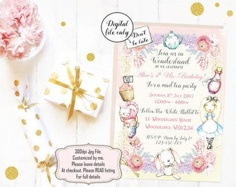 Alice in Wonderland Invitation, Alice in Wonderland Birthday Invitation, Digital Invitation - Printable Wonderland Party Invite