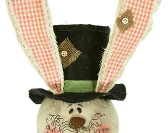 "10"" Bunny Head with Gingham Ears/Wreath Supplies/Easter Decoration/24703"