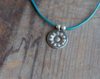 Flower on Teal Necklace