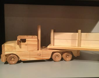Wooden toy log truck