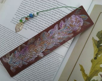 "Handcrafted leather bookmark engraved and painted by hand."" The Rose""."