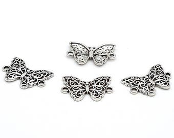 20 silver Butterfly connector matte 20mm