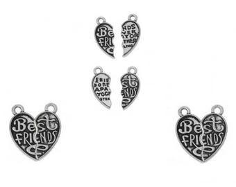 Best Friends set 2 parts 22 hearts charms 10-21mm