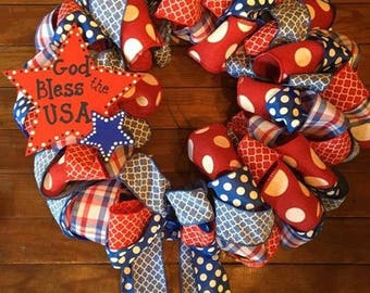 Celebrate USA with our Red White and Blue Ribbon Wreaths