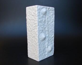 Hutschenreuther Op-art bisque vase porcelain Mid Century Modern Fossil shell vase