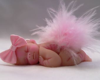 "Polymer Clay Babies ""Little Ballerina"" BABY SIZE 2.5"" Gift, Collectible, Keepsake, Cake Topper, Home Decor, Shelf Display, Memorial"
