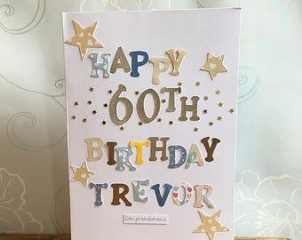 Handmade 60th birthday card, 60th birthday, age 60