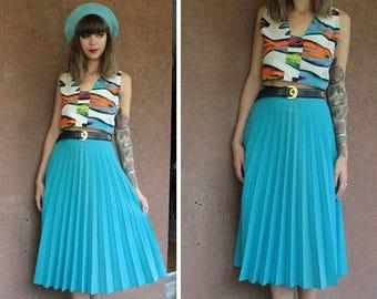 1960's Blue Wool Plissé Skirt - High Waisted midi skirt - Size Xs #1202