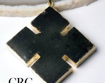 "Gold Plated THICK Black Tourmaline Cross Pendant 2"" - (CR23DG)"