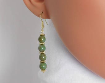 Turquoise Bead Earrings Silver or Gold