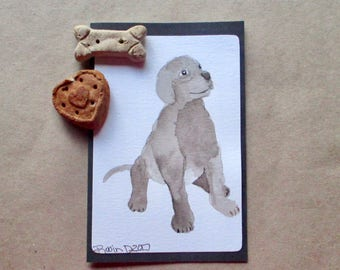 Original Watercolor dog-puppy-pet Blank Note Card