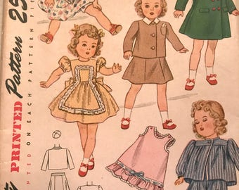 Beautiful, Original 1940's Doll Wardrobe Pattern By Effanbee---Simplicity 2538---Size 16 ""