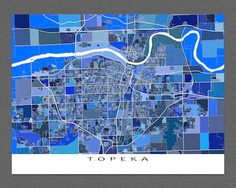 Topeka Map Print, Topeka Kansas Poster, Map Art, Home Decor