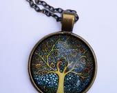 Collier Arbre de Vie  Klimt, Doré, Romantique, Sautoir, Verre,  Bronze