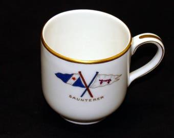 The Saunterer yacht-Hugh Bancroft-Rare boating china cup-Theodore Haviland Limoges France-Old yachting cup-Antique yacht-Old yacht