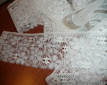 5 Yards 15 Inches Crisp White 3 3/4 Inch Wide Flat Lace