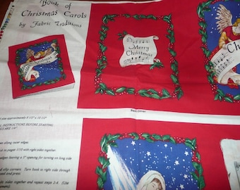 Book Of Christmas Carols Fabric Panel For Soft Sculpture Book