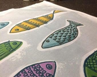 PRE-ORDER Colourful Fishes 100% Cotton Tea Towel