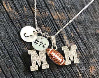 Personalized Football Mom Necklace Hand Stamped Necklace
