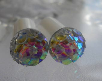 2g Plug, 2g Rainbow Mermaid Scales Plug, Rainbow Mermaid Plug, 2 Gauge Mermaid Plug