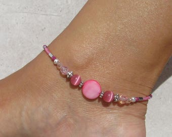 Anklet, ankle bracelet, Pink anklet, Silver Beaded ankle chain, Rose Beach ankle bracelet