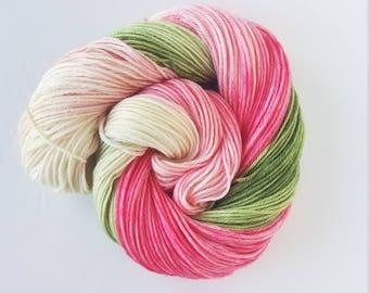 Spring Dogwood , hand painted, indie yarn