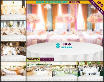 Empty Table Top WT-C1 | Wedding White Round Table Styled Scene | 8 JPG Wedding Blur Background | Table Scene Creator